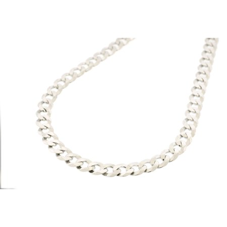 3dcb537cca3fc Sterling Silver Italian Made Men's 7MM Solid Cuban Curb Necklace Chain 20