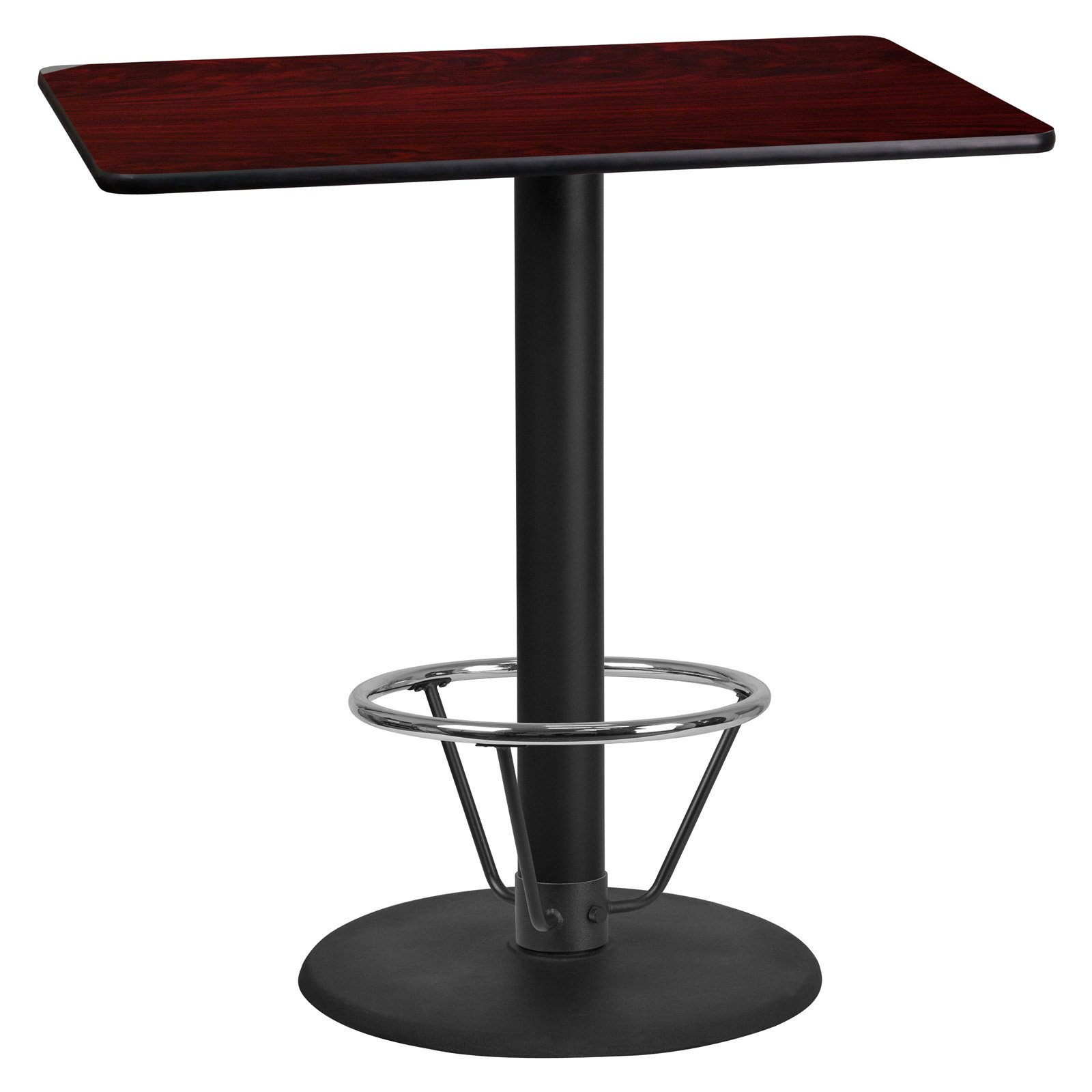 Flash Furniture 24 in. x 42 in. Rectangular Table Top with 24 in. Round Table Base and Foot Ring