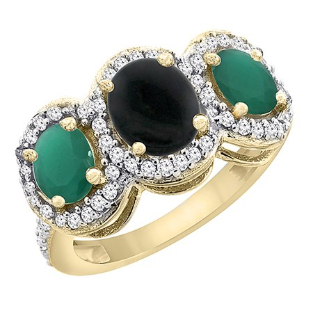 14K Yellow Gold Natural Black Onyx & Cabochon Emerald 3-Stone Ring Oval Diamond Accent, size 7.5