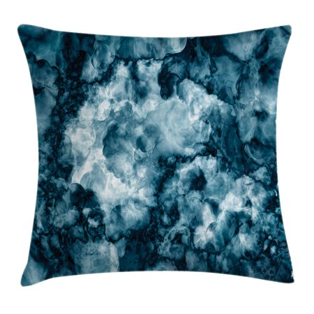 Apartment Decor Throw Pillow Cushion Cover, Antique Marble Stone with Blurry Distressed Motley Fractal Effects Illustration, Decorative Square Accent Pillow Case, 18 X 18 Inches, Blue, by Ambesonne - Decorative Marbles