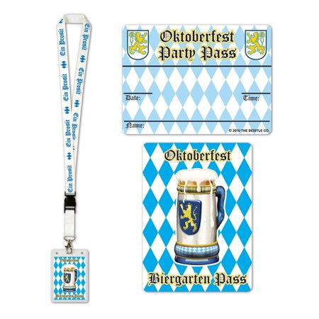 Pack of 12 Blue and White Oktoberfest Party Pass Lanyard and Card Holder 25