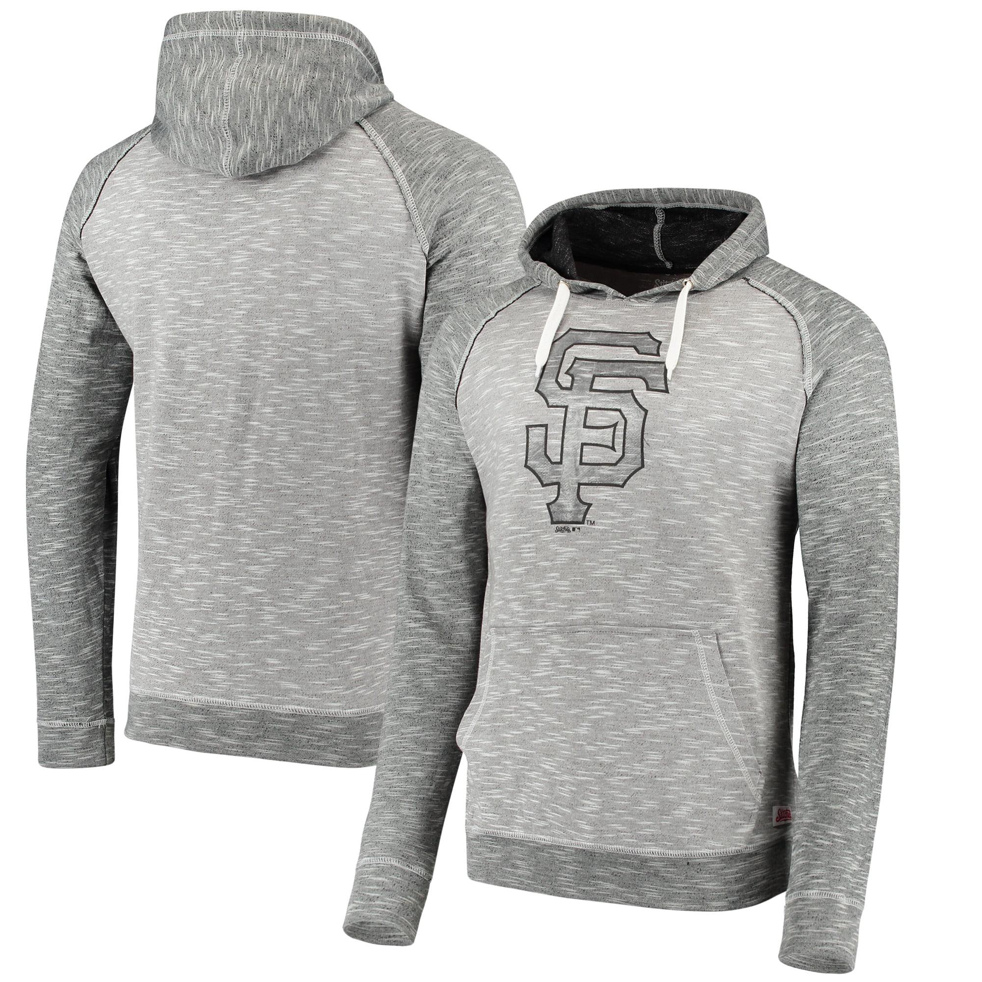 San Francisco Giants Stitches Slub Terry Pullover Hoodie - Heathered Gray/Heathered Black