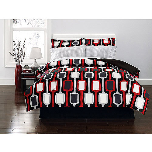 Hometrends Ellington Bed in a Bag Bedding Set, Red and Black