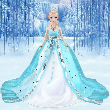 Princess Wedding Dress Noble Party Gown for Ice Princess Doll Outfit Best Gift for Girl' Doll Color:blue Height:without