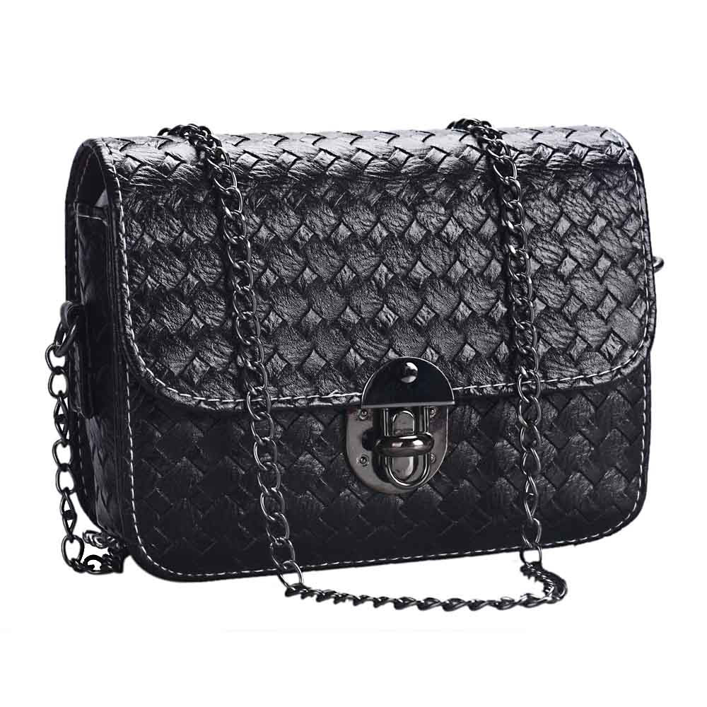 Girl Leather Mini Small Woven Pattern Shoulder Bag Handbag Messenger BK