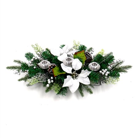 Pine Swag Garland (ALEKO Garland Swag Centerpiece with 3 Candlestick Holders - Green and Silver)