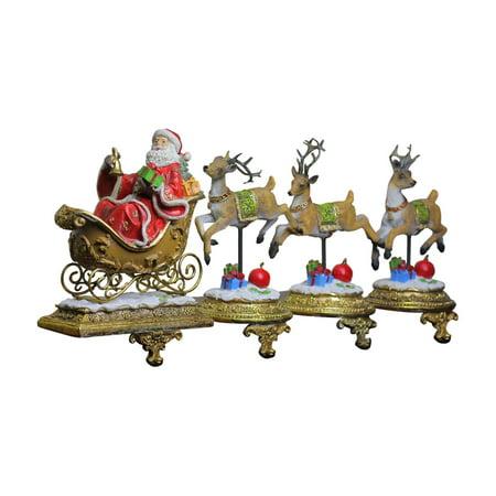 Northlight Glittered Santa and Reindeer Christmas Stocking Holder - Set of 4 ()