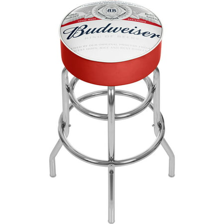 Budweiser Chrome Padded Bar Stool with Swivel, Label Design