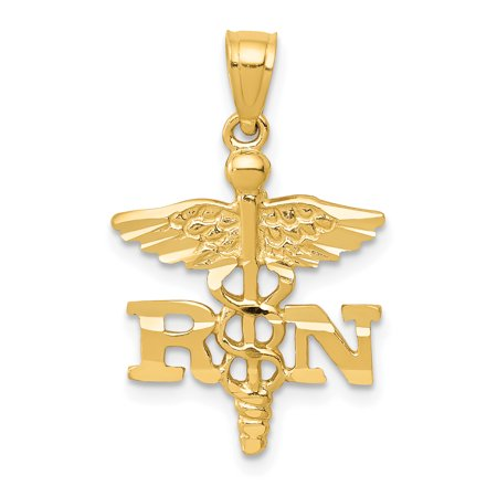 14k Yellow Gold Caduceus Angel Nursing Rn Registered Nurse Pendant Charm Necklace Career Professional Medical Gifts For Women For Her