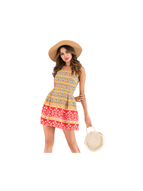 0f5af7f7f86 Product Image Women s Floral Printed Spaghetti Straps Pleated A-Line Party  Sexy Midi Casual Summer Beach Dresses. UKAP