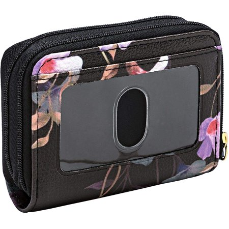 Burton Womens Wallet (Buxton Womens RFID Accordion Double Zippered Wizard Credit Card ID Holder Travel Wallet (Flowers) )