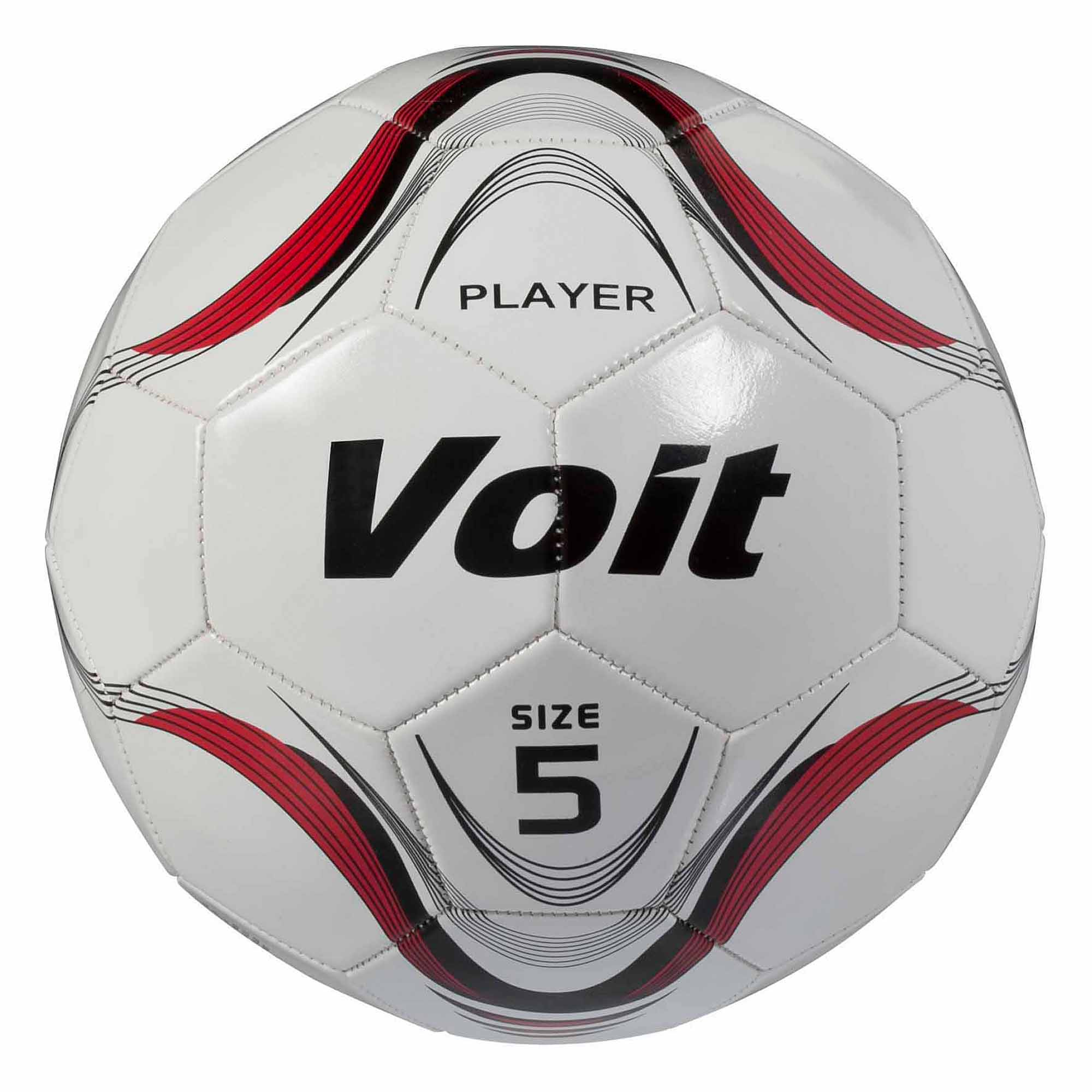 Voit Size 5 Player Soccer Ball, Deflated, White and Red Graphic