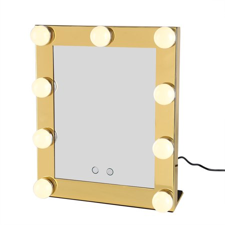 Hollywood Makeup Vanity 9 LED Mirror with Light Tabletops Lighted Mirror with Dimmer Stage Beauty Mirror Valentine's Day Gift (Yellow)