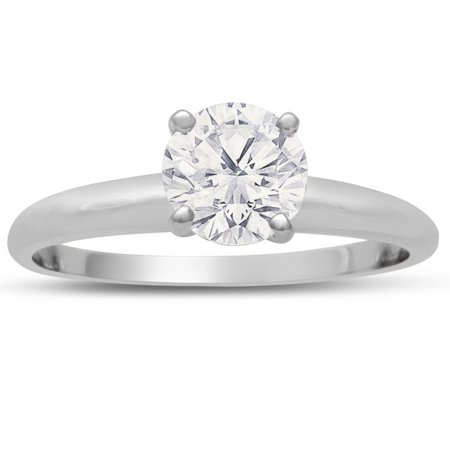 1 Carat Diamond Solitaire Engagement Ring In 14K White Gold (H-I SI1 Clarity Enhanced) Size 6.5