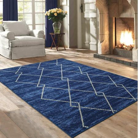 Ottomanson Studio Collection Blue Diamond Trellis Design Area or Runner Rug
