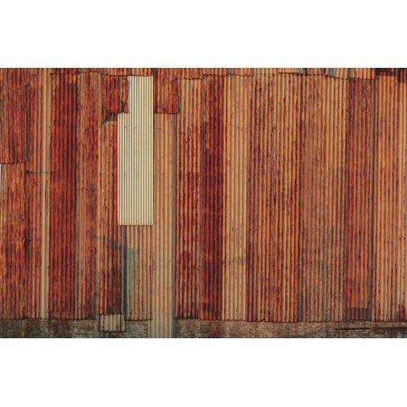 Close-up of rusted corrugated metal panels. Print Wall Art By Stuart Westmorland