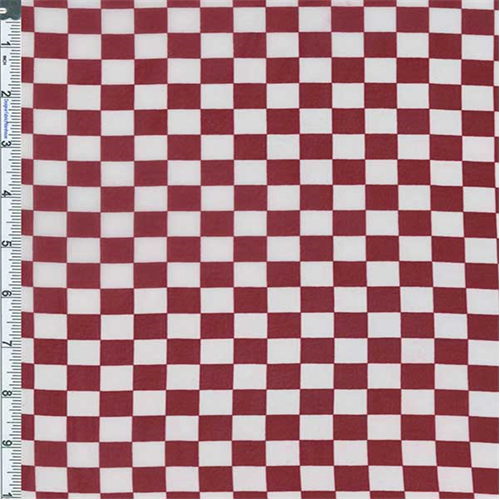 Red Checkered Print Chiffon, Fabric By the Yard