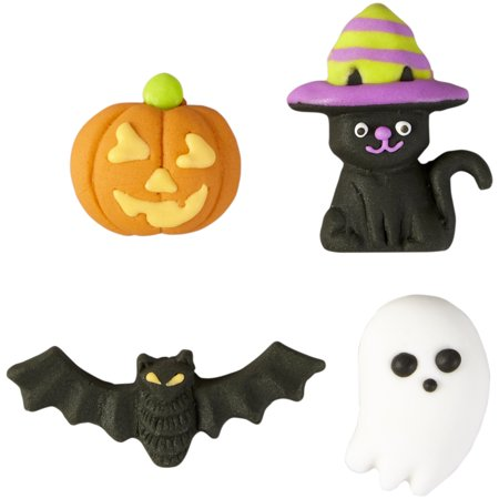 Wilton Bat, Cat, Pumpkin and Ghost Candy Decorations, 4-Count