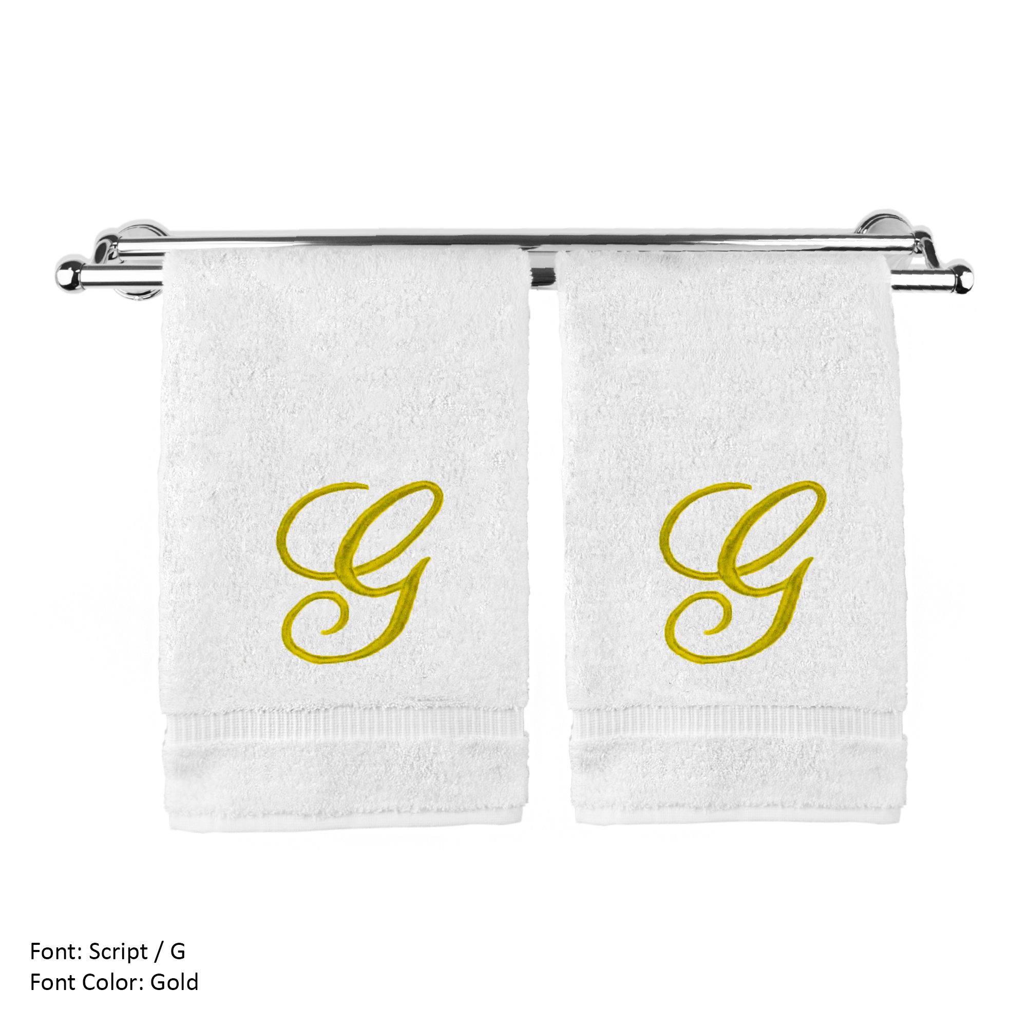 Monogrammed Washcloth Towel, Personalized Gift, 13x13 Inches - Set of 2 - Gold Script Embroidered Towel - Extra Absorbent 100% Turkish Cotton - Soft Terry Finish - Initial G White