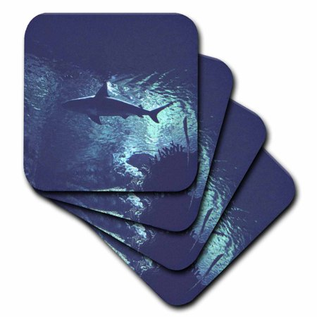 3dRose Shark in the Ocean, Soft Coasters, set of 4