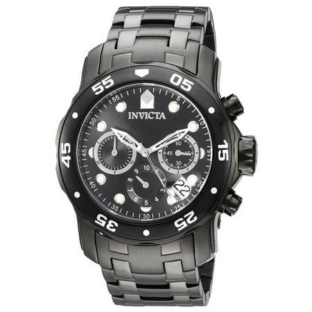 21926 Men's Pro Diver Chronograph Multifunction Black IP Steel Black Dial Dive Watch Black Dial Steel Chronograph Watch