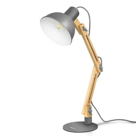 Tomons Adjustable Swing Arm Lamp Wood Desk Lamp Drafting Design Light, Gray