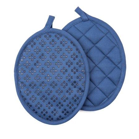 Sticky Toffee, 9 Piece Set, Silicone Printed Oven Mitt & Pot Holder, Cotton Terry Kitchen Dish Towel & Dishcloth, Dark Blue