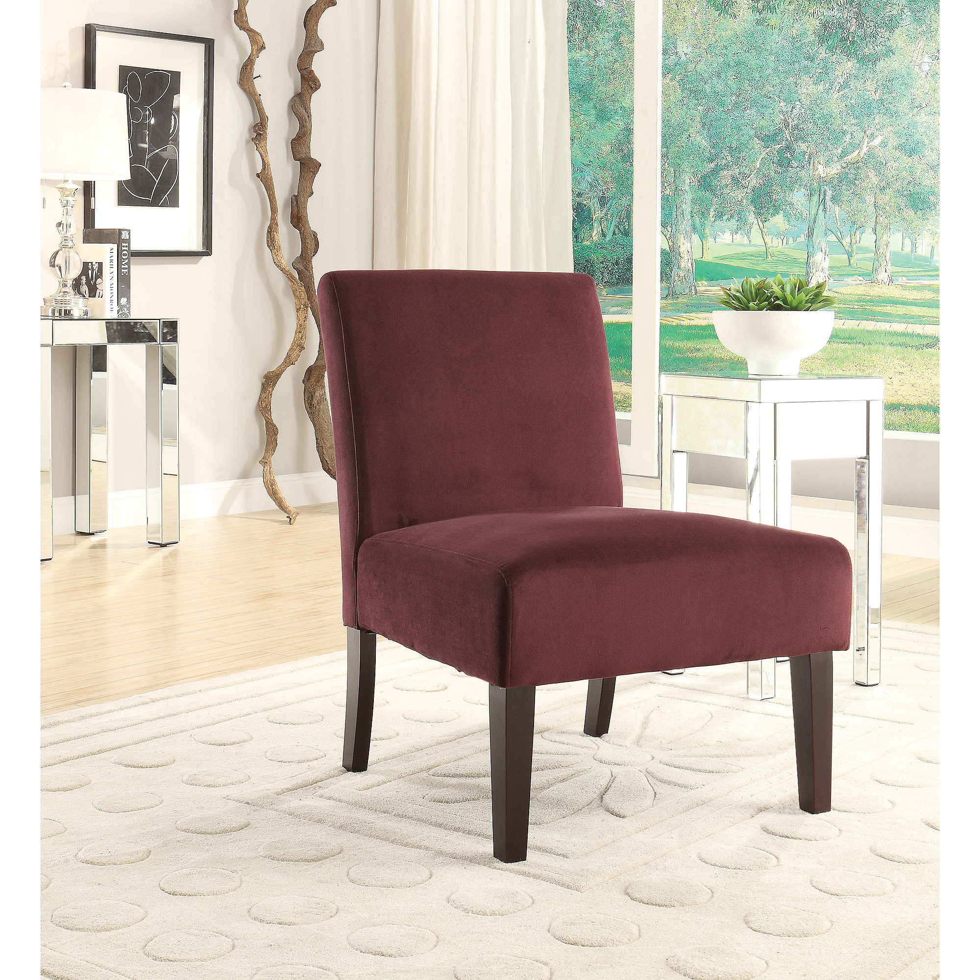 Avenue Six Laguna Armless Accent Chair in Velvet