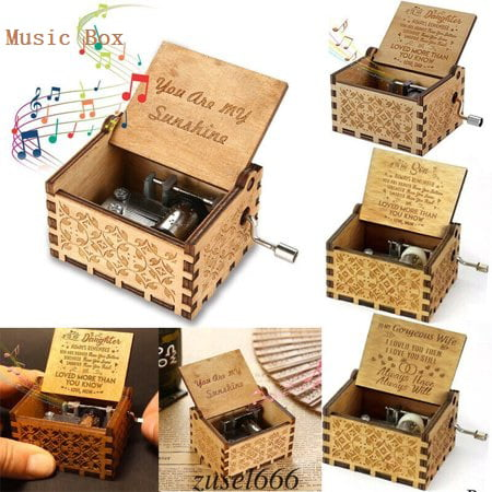 Best Christmas Gifts for Boy Girls Vintage Wooden Theme Song Music Box Hand-operated Carved Engraving Music Case Creative Holiday Birthday Gifts for Kids Adults Theme Music Box