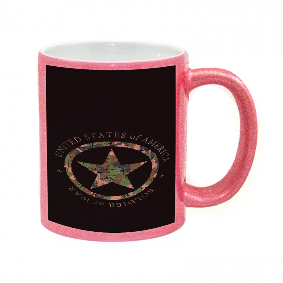 KuzmarK Pink Sparkle Coffee Cup Mug 11 Ounce - Military Soldier Of War Camouflage