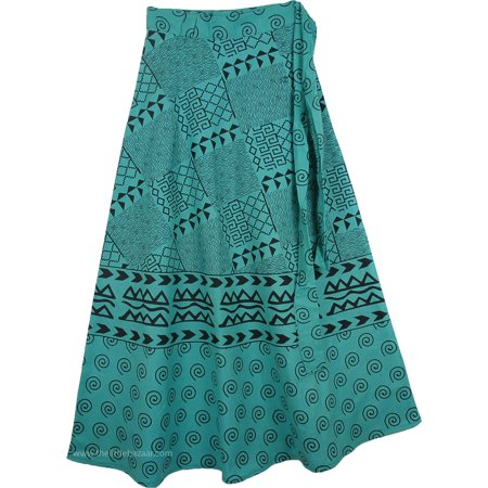 Ancient Scriptures Wrap Around Skirt in Green ()