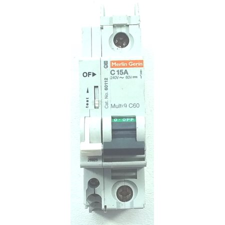 used SqD/Merlin Gerin 60112 10KAIC 15A 1P 240V mini DIN rail circuit (Din Rail Breaker)