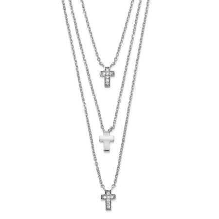 Mia Diamonds 925 Sterling Silver Rhodium-Plated Three Strand Cubic Zirconia (CZ) Cross with 2in ext. Necklace - Multi Strand Cross