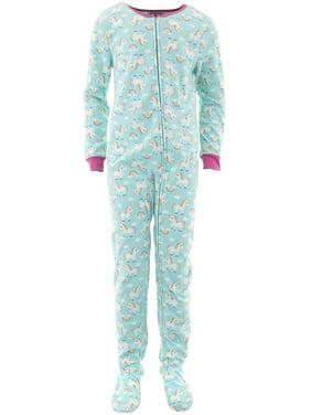 Rene Rofe Girls Rainbow Unicorns Blue Footed Pajamas L/10-12