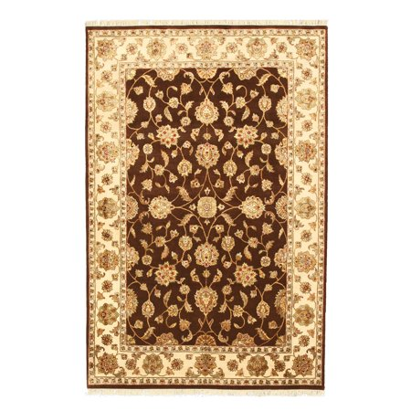 Hand-knotted Wool & Silk Brown Traditional Oriental Flower Jaipur - Oriental Silk Lanterns