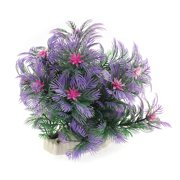Unique Bargains Aquarium Plastic Emulational Aquatic Flower Plant Decor Green Purple