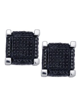 10kt White Gold Mens Round Black Color Enhanced Diamond 3D Square Cube Cluster Earrings 1-1/8 Cttw Fine Jewelry Ideal Gifts For Women Gift Set From Heart