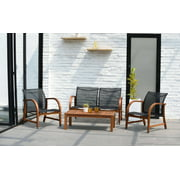 Amazonia Brooklyn 4-Piece Seating Patio Conversation Set | Eucalyptus Wood | Ideal for Outdoors and Indoors