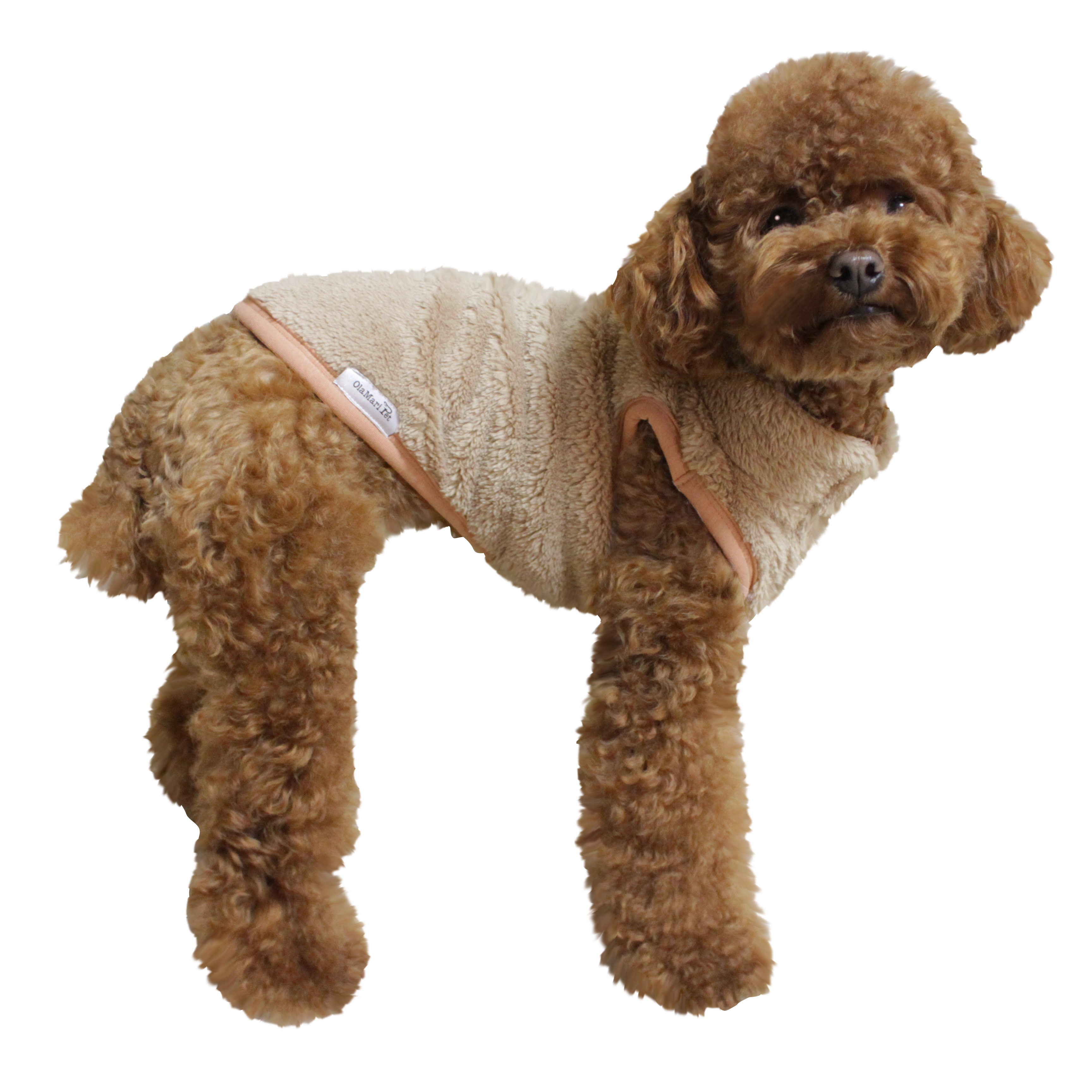 Ola Mari Pet Dog's Super Soft Warm Fleece Zip Up Unisex Vest Sweater For Dogs Pets, Small, Beige