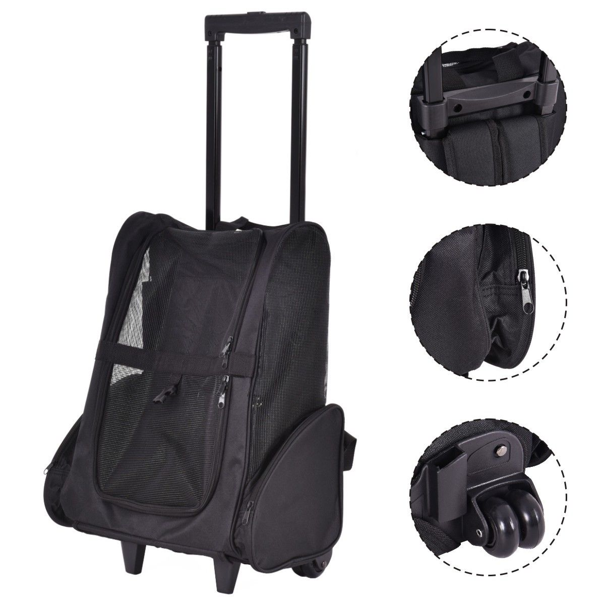 Costway 4 Color Pet Carrier Dog Cat Rolling Back Pack Travel Airline Wheel Luggage Bag by Costway
