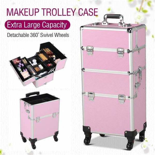 Yaheetech Aluminum 4 Removable Rolling Wheels Makeup Case Salon Cosmetic Organizer Trolley Train Case Makeup Case (Pink)