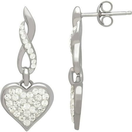 Swarovski Element Sterling Silver Heart Drop Earrings