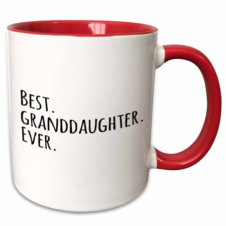 3dRose Best Granddaughter Ever - Gifts for Grandaughters - black text - Two Tone Red Mug, (Granddaughter Gift)