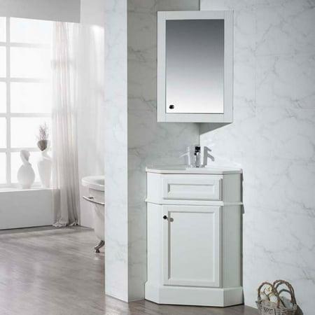 Hampton Vanity - Stufurhome Hampton 27 in. Corner Bathroom Vanity with Medicine Cabinet