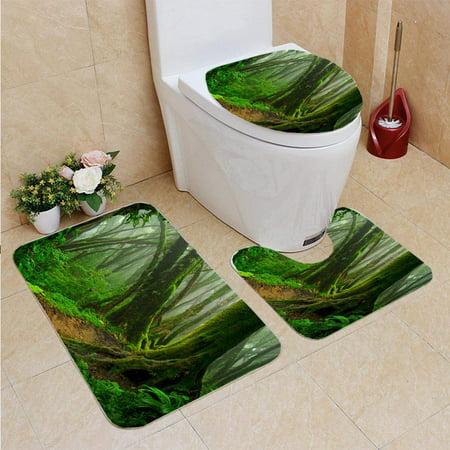 EREHome Nepal Rainforest 3 Piece Bathroom Rugs Set Bath Rug Contour Mat and Toilet Lid Cover - image 1 de 2