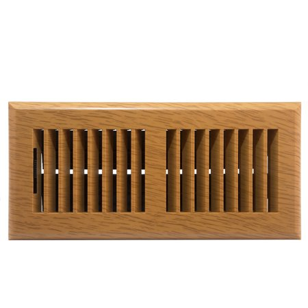 Plastic Floor Register, Oak Finish, Louvered Design, 4