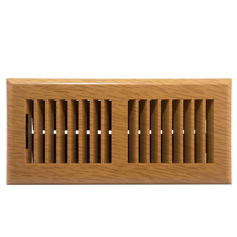 "Plastic Floor Register, Oak Finish, Louvered Design, 4"" x 10"""