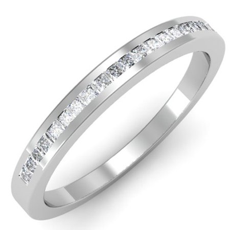 Dazzlingrock Collection 0.25 Carat (ctw) 10K Princess Cut White Diamond Ladies Anniversary Wedding Band Stackable Ring 1/4 CT, White Gold, Size 8.5 Princess Cut Diamond Ring Band