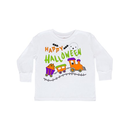 Happy Halloween- train with pumpkins, bats, cat,and ghost Toddler Long Sleeve T-Shirt](Halloween Games Ghost Train)