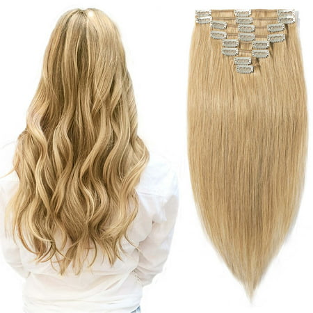 S-noilite Remy Clip in Full Head Straight 100% Human Hair Extensions 8 pcs Dark Blonde,10